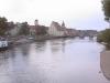 Regensburg - pohled na Kamenný most (Steinerne Brücke)